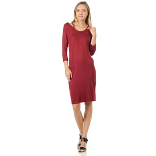 Women's Rayon Blend Three-quarter Sleeve Cutout Shift Dress