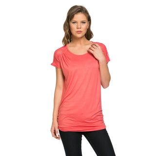 Women's Rayon and Spandex Mesh Shoulder Top