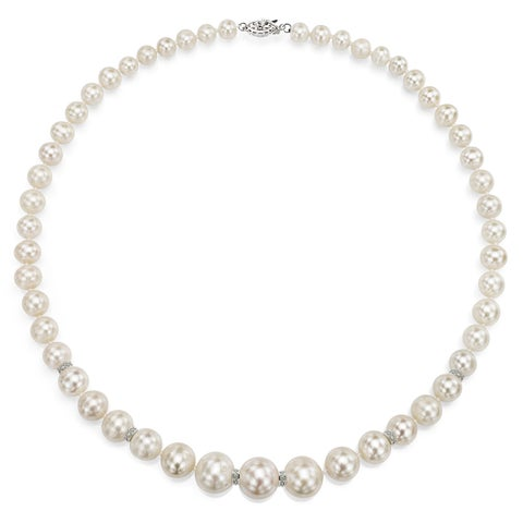 """DaVonna Sterling Silver .06tcw Roundel Diamond Graduated White Freshwater Pearl Necklace 18"""""""