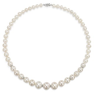 DaVonna Sterling Silver .06tcw Roundel Diamond Graduated White Freshwater Pearl Necklace 18""