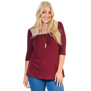 Women's Khaki-colore Plus-size Half-sleeve Block Top