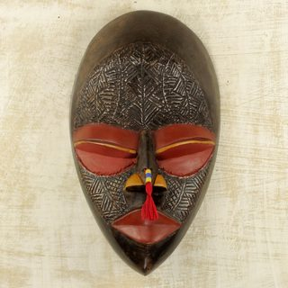 Handcrafted Sese Wood 'End to Calamity' African Wall Mask (Ghana)