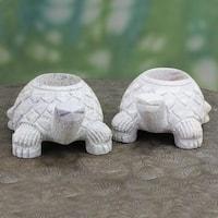 Set of 2 Handmade Natural Soapstone 'Turtle Twins' Candleholders (India)
