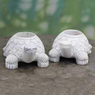 Set of 2 Handmade Natural Soapstone 'Turtle Twins' Candleholders (India)
