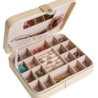 Hives and Honey Metallic Gold Leather Jewelry Travel Case
