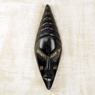 Handcrafted Sese Wood 'Vigilant Hunter' African Wall Mask (Ghana)