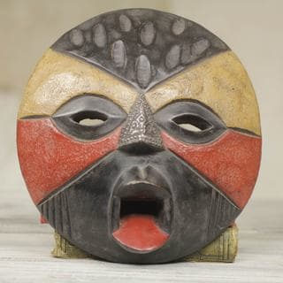 Handcrafted Sese Wood 'Betrothed' African Wall Mask (Ghana)