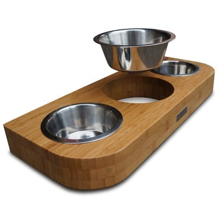 Pet Lounge Studios Bamboo Stainless Steel Three Bowl Pet Diner Set