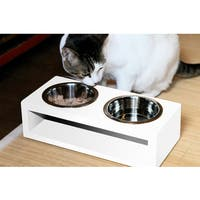 Pet Diner White Wood Water-resistant Stainless Steel 2-bowl Feeder