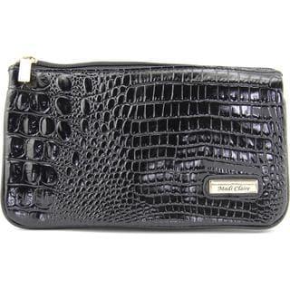 Madi Claire Women's '4973' Black Leather Croc Embossed Handbag
