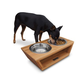Pet Lounge Studios Brown Bamboo/Stainless Steel Pet Double Feeder