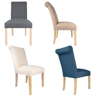 Sole Designs Solid-colored Wood/Fabric Upholstered Dining Chairs (Set of 2)
