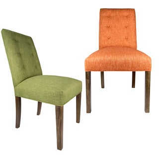 Sole Designs Green/Orange Wood/Fabric Upholstery Dining Chair (Set of 2) - 21 inches w. x 26 inches d. x 39 inches h