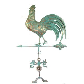 Urban Port Brown Stainless Steel Rooftop Rooster Weathervane