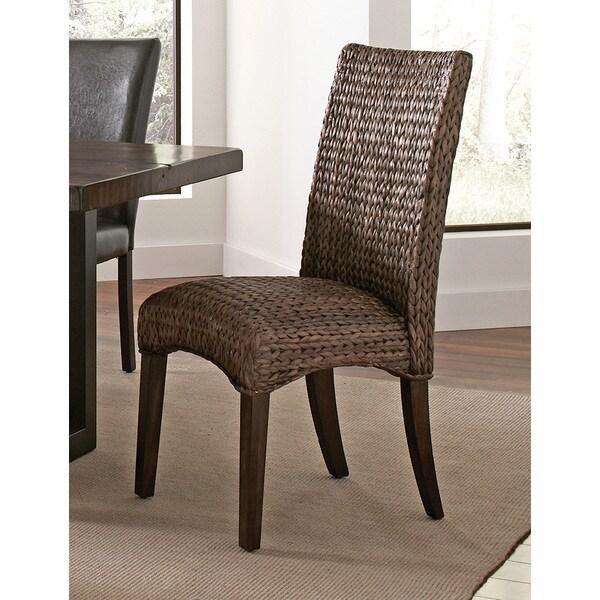 Coaster Company Mahogany And Banana Leaf Dark Brown Woven Dining Chair