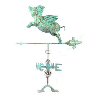 Urban Port Green Copper Defined Flying Pig Weathervane