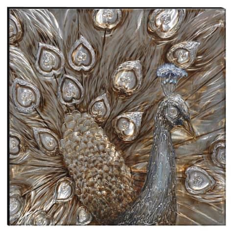 Benzara Hand-painted Dancing Peacock Aluminum/Wood Wall Art Decor