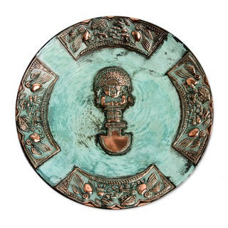 Handcrafted Copper 'Ceremonial Blade' Decorative Plate (Peru)