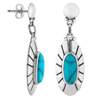 Sterling Silver Turquoise Concho Earrings