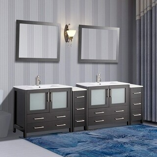 Vanity Art Ceramic Sink Top 96-inch Double Sink Bathroom Vanity Set