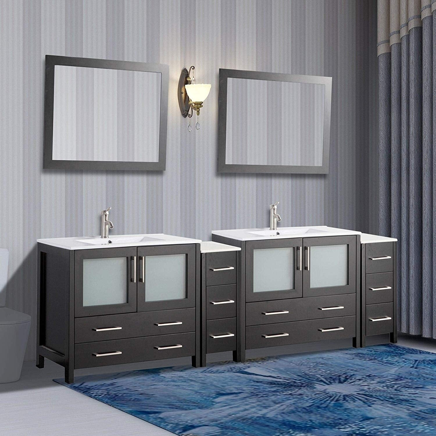 Vanity Art 96 Inch Double Sink Bathroom Vanity Set Overstock 12609925