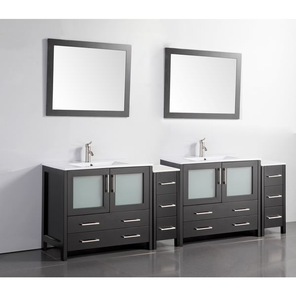 Vanity Art Ceramic Sink Top 96-inch Double Sink Bathroom Vanity ...