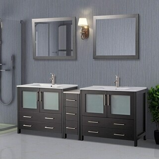 Vanity Art 84-inch Double-sink Bathroom Vanity Set with Ceramic Top