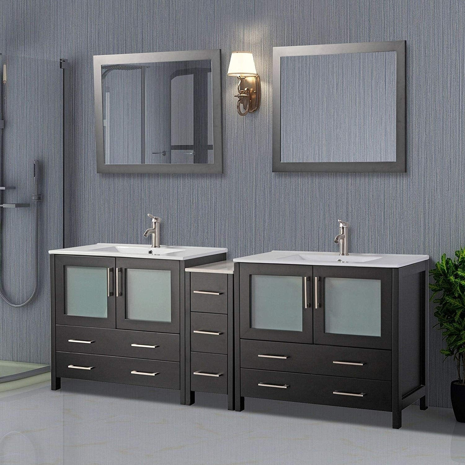 Shop Black Friday Deals On Vanity Art 84 Inch Double Sink Bathroom Vanity Set 7 Drawers 3 Cabinets 2 Shelves Soft Closing Doors With Free Mirror Overstock 12609926