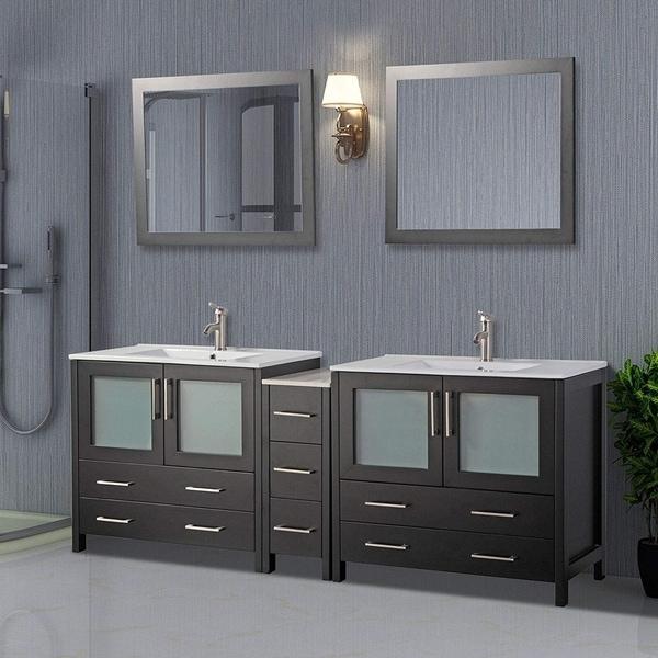 Vanity Art 84-Inch Double Sink Bathroom Vanity Set 7 Drawers, 3 Cabinets, 2 Shelves, Soft-Closing Doors with Free Mirror