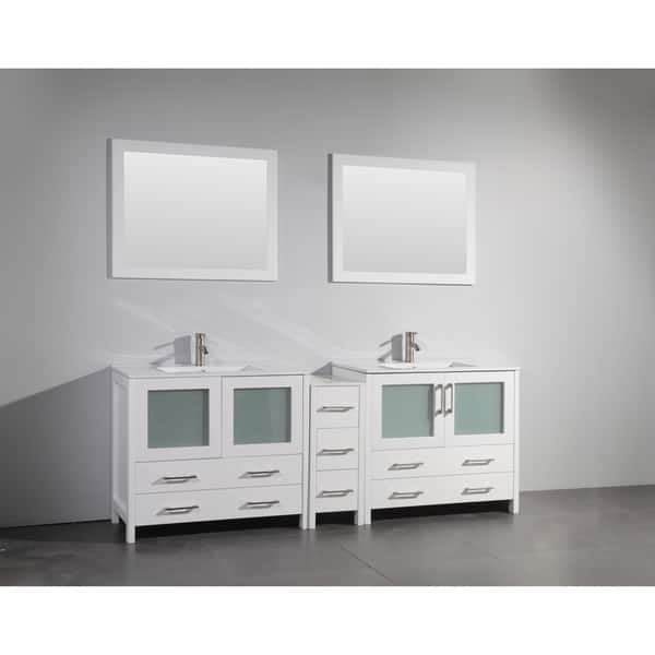 Shop Vanity Art 84 Inch Double Sink Bathroom Vanity Set 7 Drawers