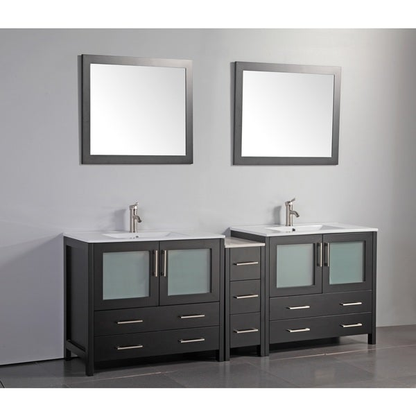 Vanity Art 84 Inch Double Sink Bathroom Set With Ceramic Top