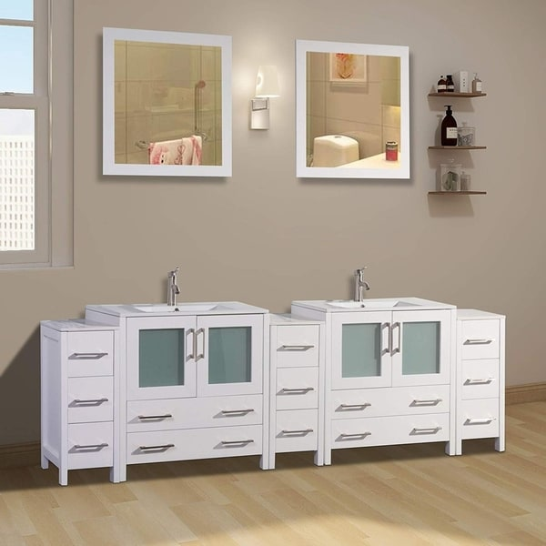 96 Inch Bathroom Vanity Home Depot: Shop Vanity Art 96-Inch Double Sink Bathroom Vanity Set 13