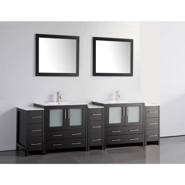 Shop Vanity Art White/Grey Ceramic/Oak 96-inch Double Sink ...