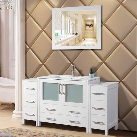 Vanity Art 60-Inch Single Sink Bathroom Vanity Set 8 Drawers, 3 Cabinets, 1 Shelf, Soft-Closing Doors with Free Mirror