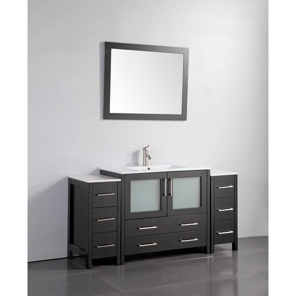 Shop Vanity Art Oak And Ceramic 60 Inch Single Sink Bathroom Vanity Set With Ceramic Top On