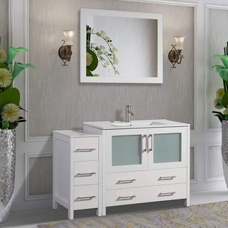 Vanity Art 48-Inch Single Sink Bathroom Vanity Set 5 Drawers, 2 Cabinets, 1 Shelf, Soft-Closing Doors with Free Mirror