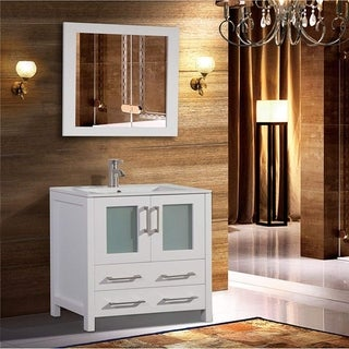 Vanity Art 36-Inch Single Sink Bathroom Vanity Set 2 Drawers, 1 Cabinets, 1 Shelf, Soft-Closing Doors with Free Mirror
