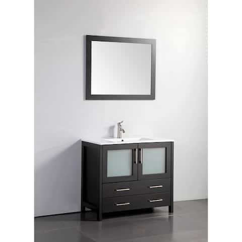 Vanity Art 36-Inch Single Sink Bathroom Vanity Set 2 Drawers, 1 Cabinets, 1 Shelf, Soft-Closing Doors with Free Mirror