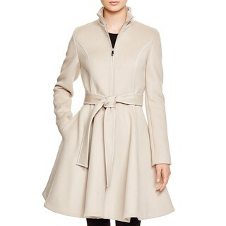 Dawn Levy Fergie Beige Wool Faux Leather Trim Belted Coat