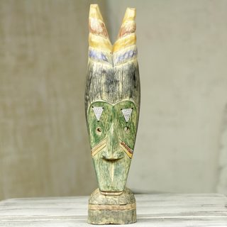 Handcrafted Sese Wood 'Stately Advice' African Sculpture (Ghana)