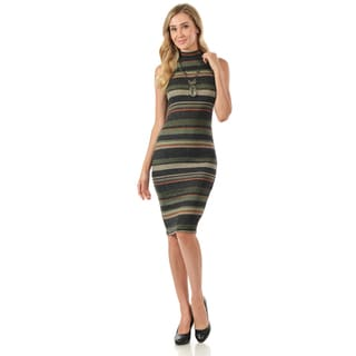 Knit Bodycon Sleeveless Dress with Mock Neck