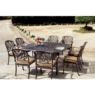Gracewood Hollow Shonagon Antique Bronze Cast Aluminum 9-piece Dining Set with Seat Cushions