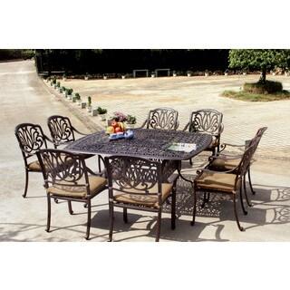 Gracewood Hollow Shonagon Antique Bronze Cast Aluminum 9 Piece Dining Set  With Seat Cushions