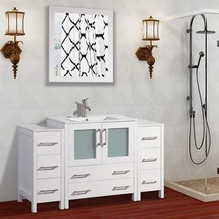 Vanity Art White/Grey Ceramic/Oak 54-inch Single Sink Bathroom Vanity Set