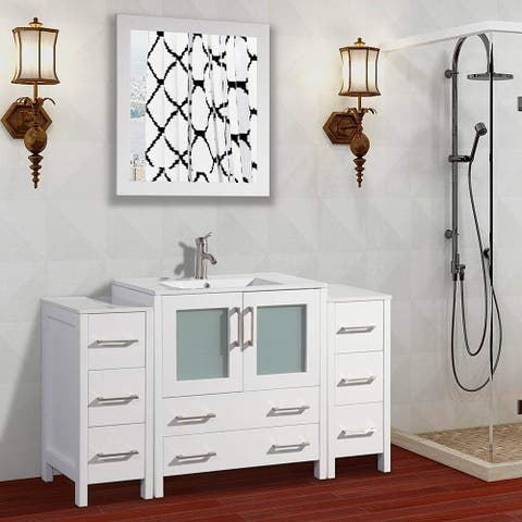 Vanity Art 54-Inch Single Sink Bathroom Vanity Set 8 Drawers, 3 Cabinets, 1 Shelf, Soft-Closing Doors with Free Mirror
