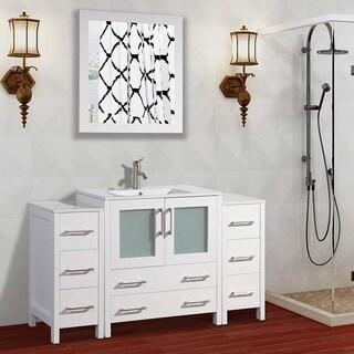 Vanity Art 54-Inch Single Sink Bathroom Vanity Set 8 Drawers, 3 Cabinets, 1 Shelf, Soft-Closing Doors with Free Mirror