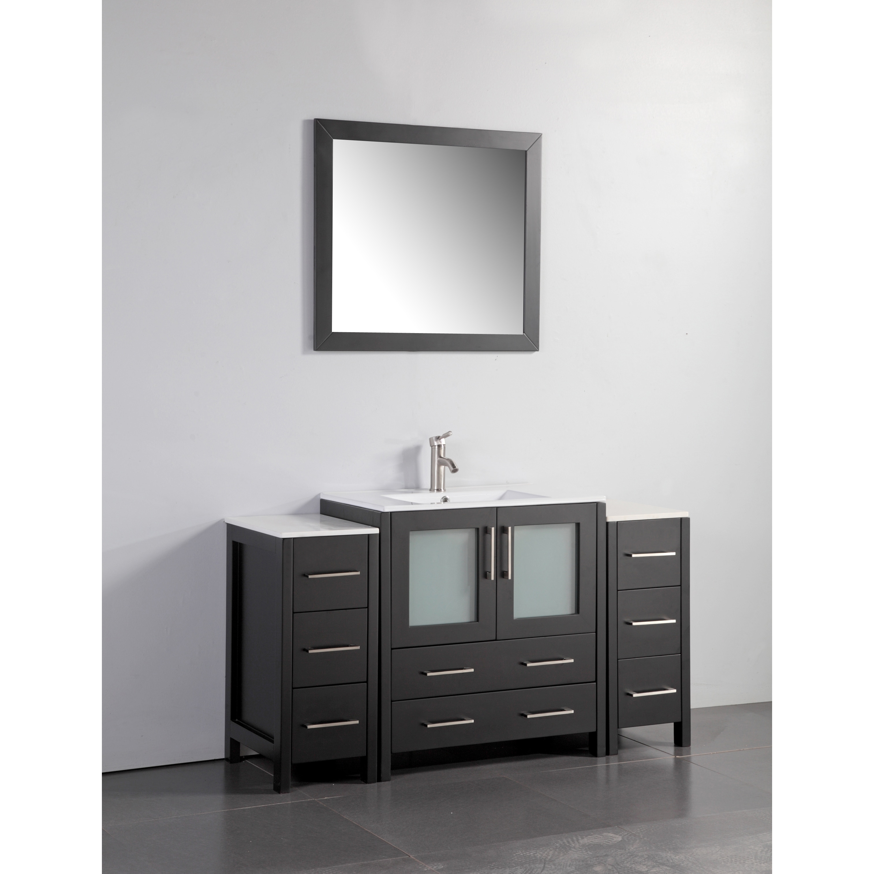 Vanity Art White/Grey Ceramic/Oak 54 Inch Single Sink Bat.