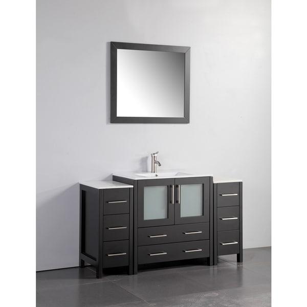Vanity art white grey ceramic oak 54 inch single sink - 54 inch double sink bathroom vanity ...