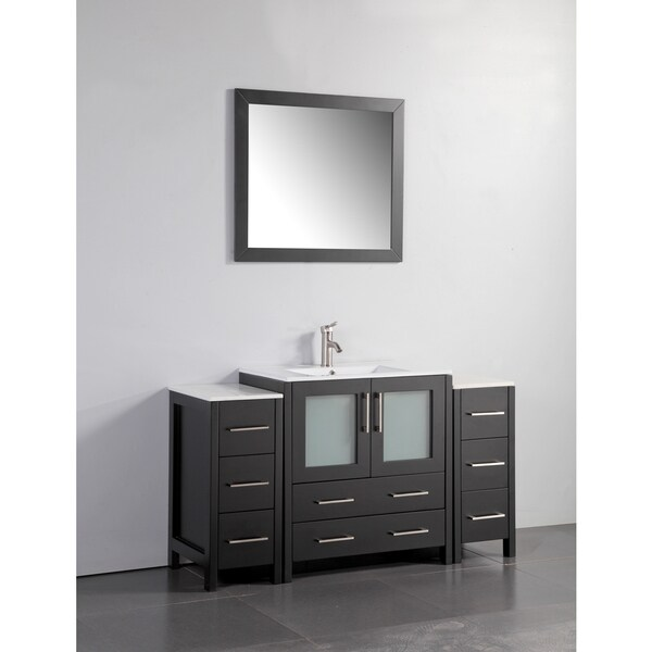 Vanity Art White Grey Ceramic Oak 54 Inch Single Sink Bathroom Vanity Set Free Shipping Today
