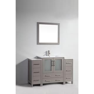 Vanity Art White/Grey Ceramic/Oak 54-inch Single Sink Bathroom Vanity Set
